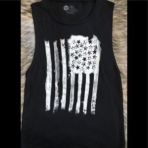 ROXY American Flag Black Tank Top